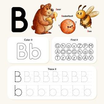 Foglio di lavoro lettera b con orso, ape e basket