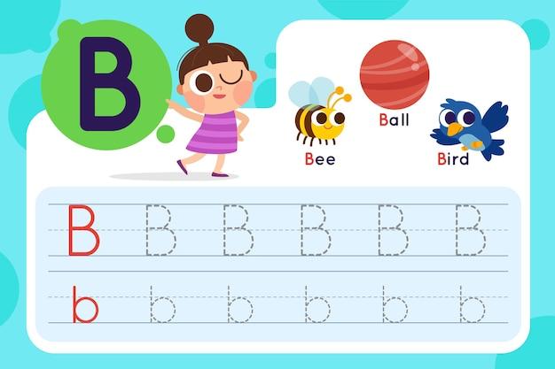 Foglio di lavoro lettera b con ape e palla