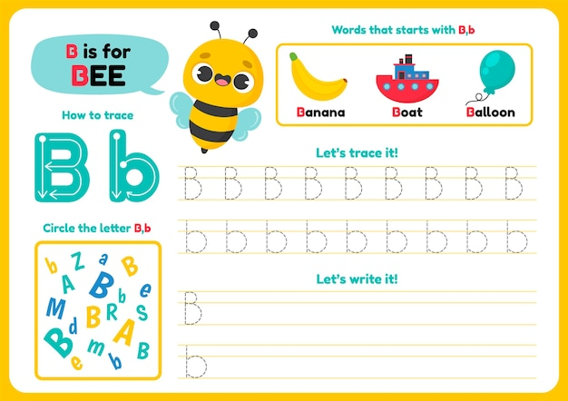 Foglio di lavoro della lettera b con l'ape