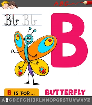 Letter b worksheet with cartoon butterfly