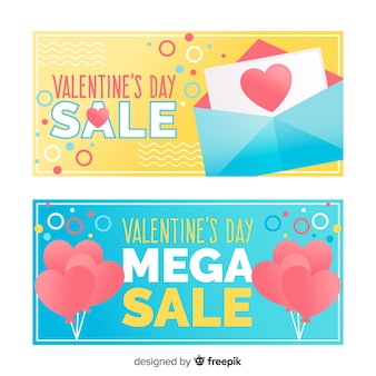 Letter and balloons valentine sale banner