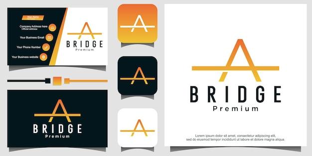 Letter a bridge with line art logo design