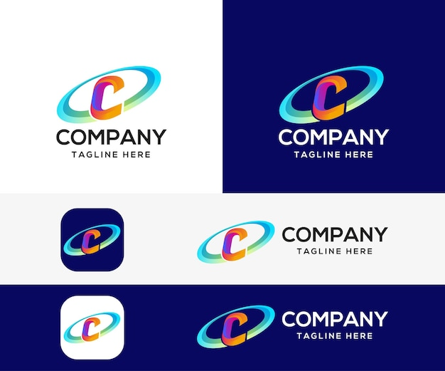 Буква c 3d красочный дизайн логотипа