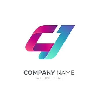 문자 c와 문자 j 모노그램 로고 개념