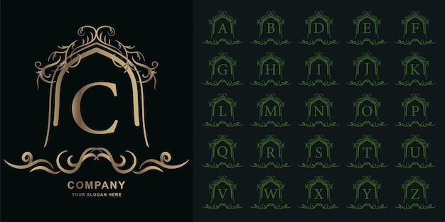 Letter c or collection initial alphabet with luxury ornament floral frame golden logo template.
