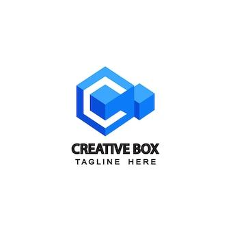 편지 c 크리에이 티브 블루 상자 로고 템플릿 디자인 벡터