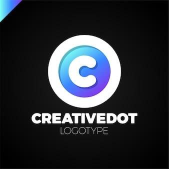 Letter c creative circle icon logotype dot