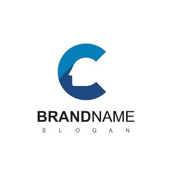 文字c、クリエイティブな人々のロゴ、シルエットの頭のロゴデザインテンプレート