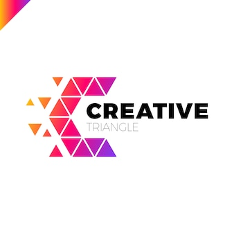 Letter C Creative Triangle Color Logo Design Template