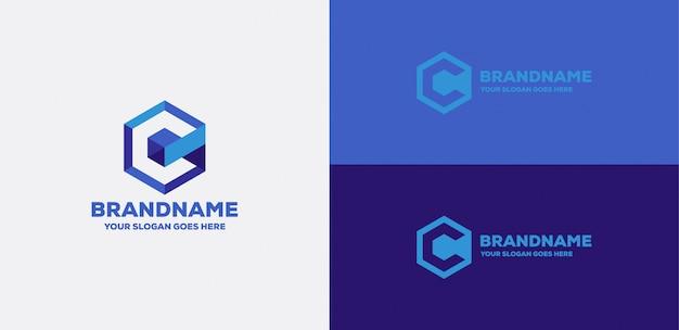 Letter c cube 3d logo