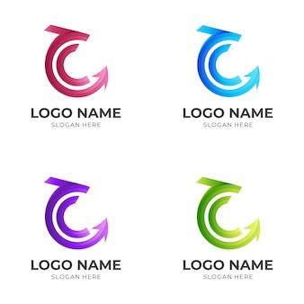 文字cドラゴンロゴ、ドラゴンと文字c、3dカラフルなスタイルの組み合わせロゴ