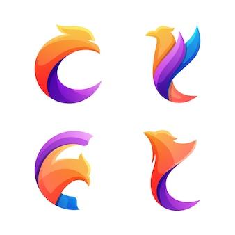 Letter c eagle logo, abstract eagle logo set
