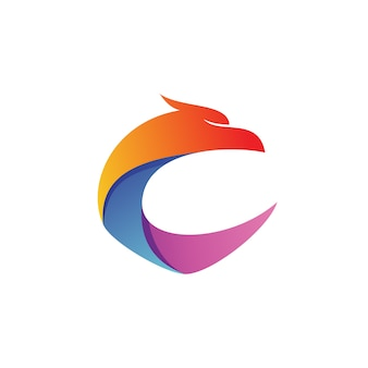 Letter c eagle shape logo vector
