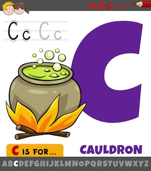 Letter c from alphabet with cartoon cauldron object