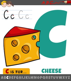 Letter c from alphabet with cartoon cheese food object