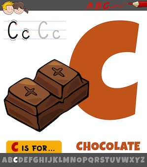 Letter c from alphabet with cartoon chocolate food object