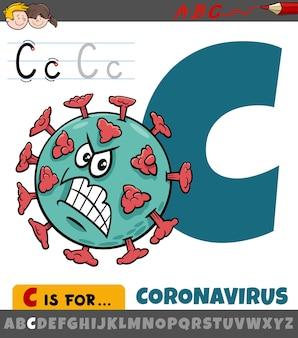 Letter c from alphabet with cartoon coronavirus character