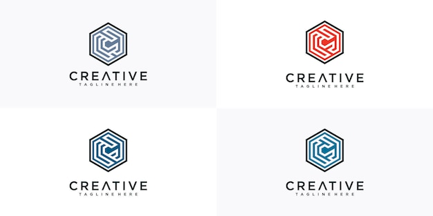 文字cの六角形のロゴのインスピレーション