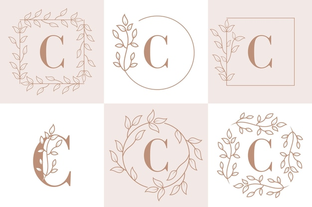 Letter c initial with floral frame template
