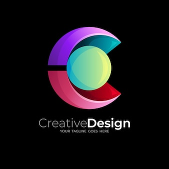 Letter c logo and babble design combination