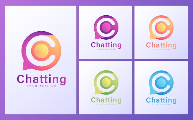 Letter c logo in chat bubbles. modern chatting logo concept
