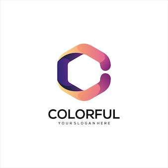 Letter c logo colorful gradient abstract