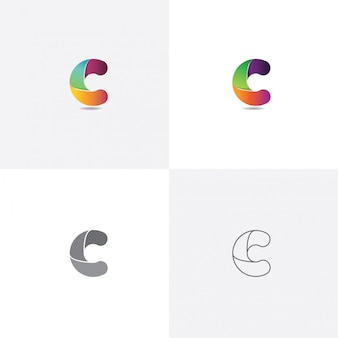 Letter c logo design colorful with different style