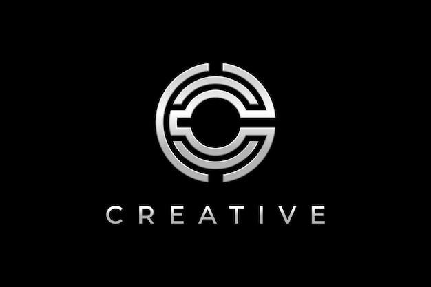 Letter c logo design in silver