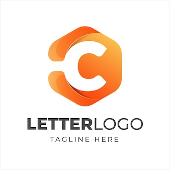 Letter c logo design template with geometric shape style