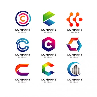 Letter c logo design templates