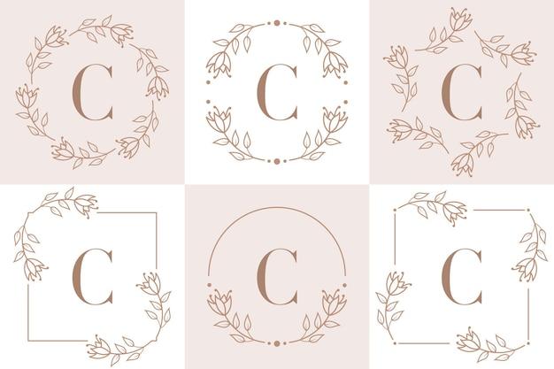 Буква c дизайн логотипа с элементом листа орхидеи
