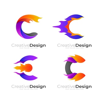 Letter c logo and fire design template