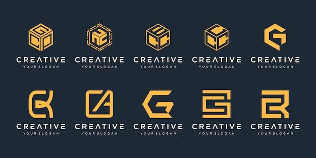Letter c logo icon set design for business of luxury elegant simple