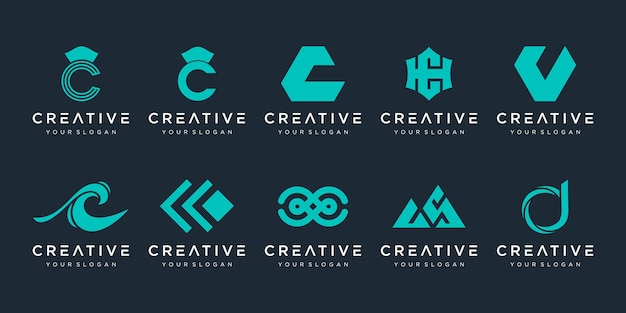 Letter c logo icon set designs for business of sport automotive elegant simple