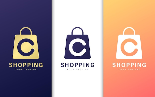 ショッピングバッグの文字cのロゴ。現代の商取引のロゴの概念