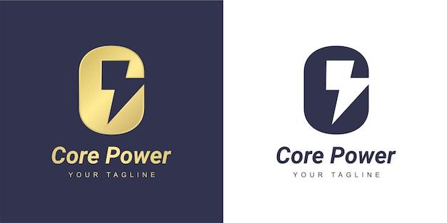 ミニマリストのパワーとフラッシュのコンセプトを持つ文字cのロゴ
