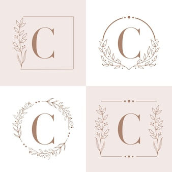 Letter c logo with floral frame background template