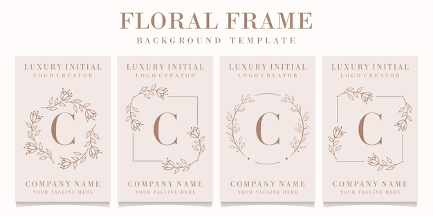Letter c logo with floral frame template