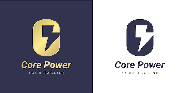 Letter c logo with a minimalist  power  and  flash  concept