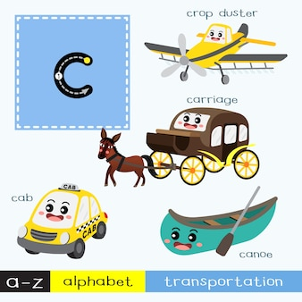 Letter c lowercase tracing transportations vocabulary