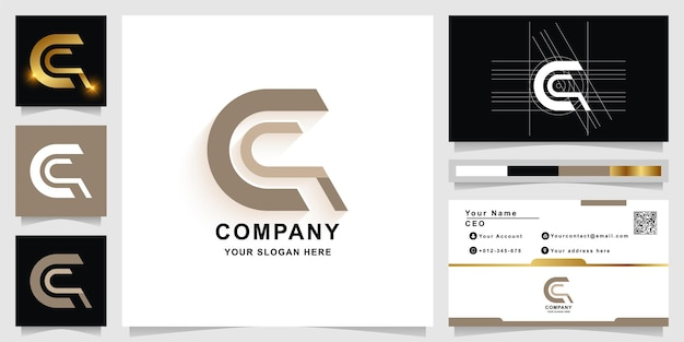 Letter c or a monogram logo template with business card design