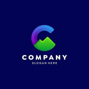 文字c山のロゴカラフルなグラデーションテンプレートデザイン