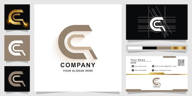 Буква c или шаблон логотипа вензеля с дизайном визитной карточки