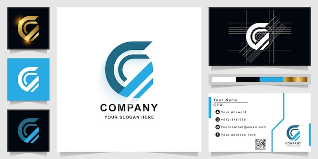 Буква c или c9 шаблон логотипа вензеля с дизайном визитной карточки