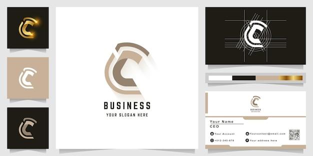 Буква c или cc вензель логотип с дизайном визитной карточки