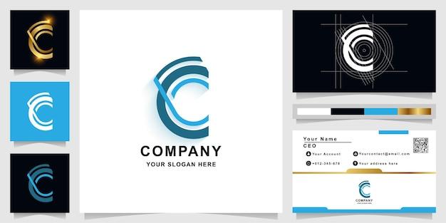 Буква c или cg шаблон логотипа монограммы с дизайном визитной карточки