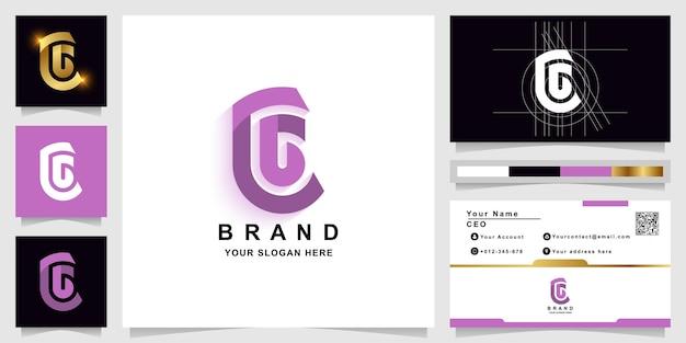 Буква c или cg шаблон логотипа монограммы с шаблоном логотипа designram визитной карточки с дизайном визитной карточки