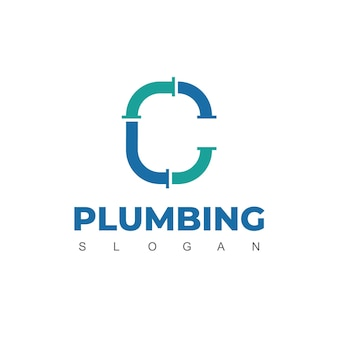 Letter c, pipe logo design template for plumbing company identity