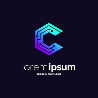 Letter c technology grid, premium logo template