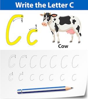 アルファベットのワークシートをトレースする文字c